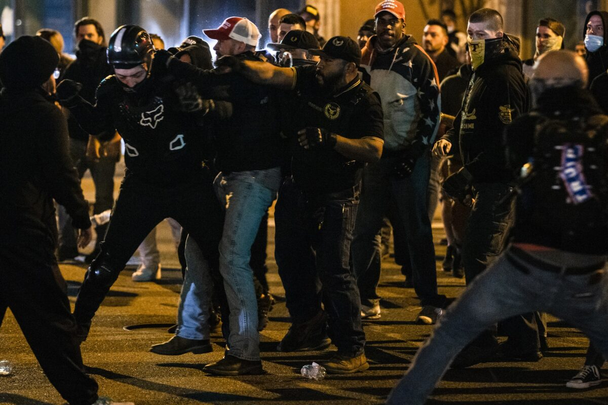 antifa and proud boys fight