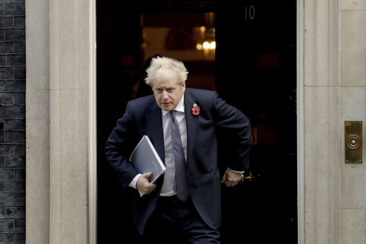British Prime Minister Boris leaving 10 Downing Street in London.