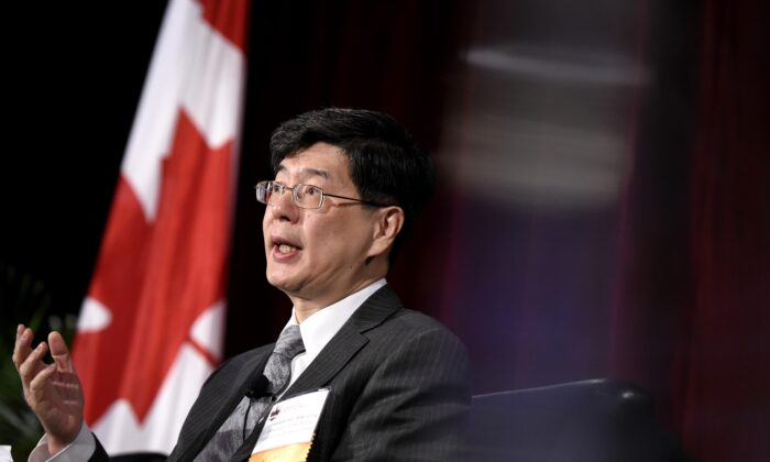 Ambassador of China to Canada Cong Peiwu speaks as part of a panel at the Ottawa Conference on Security and Defence in Ottawa, on March 4, 2020. (Justin Tang/The Canadian Press)