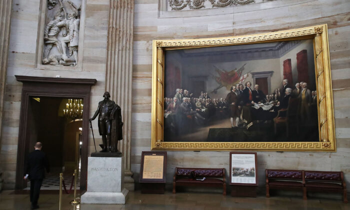 "The painting titled ""Declaration of Independence"" hangs on the wall inside the U.S. Capitol in Washington on May 17, 2017. (Mark Wilson/Getty Images)"