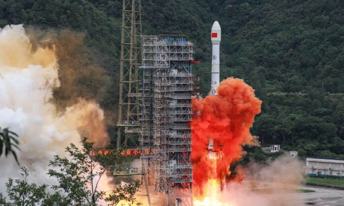 A Long March 3B rocket carrying the Beidou-3GEO3 satellite lifts off from the Xichang Satellite Launch Center in Xichang, Sichuan Province, China, on June 23, 2020. (STR/AFP via Getty Images)