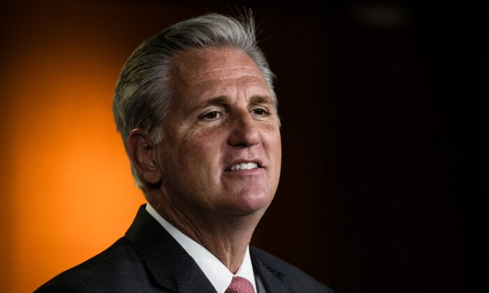 House Minority Leader Kevin McCarthy (R-CA) speaks during a press conference at the U.S. Capitol in Washington on Nov. 12, 2020. McCarthy criticized his colleagues across the aisle and faced questions about the new Republican House members that are on the more extreme end of the political spectrum. (Samuel Corum/Getty Images)