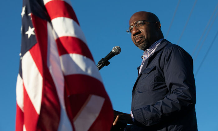 Democratic U.S. Senate candidate Raphael Warnock of Georgia speaks to supporters during a rally in Marietta, Ga. on Nov. 15, 2020. (Jessica McGowan/Getty Images)