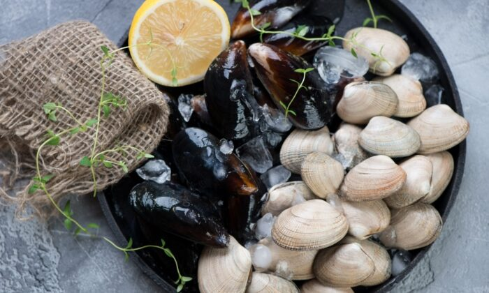 On the East Coast, the local diet was heavy on seafood such as clams, scallops, seaweed, oysters, mussels, eels, and fish. This recipe depends on a diversity of quality seafood. (Nickola Che/Shutterstock)
