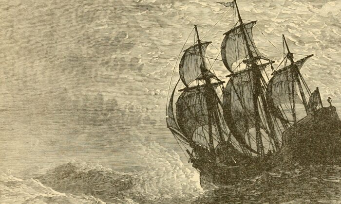 """The Mayflower at sea, an Illustration from """"United States; a history: the most complete and most popular history of the United States of America from the aboriginal times to the present day,"""" circa 1893. (Public Domain)"""