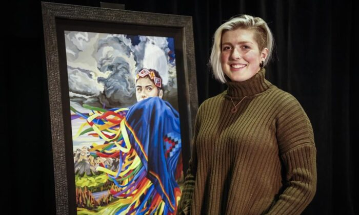 The Calgary Stampede unveiled the 2021 Stampede Poster and  the winning artist, Lexi Hilderman, 22, of the Calgary Stampede youth poster competition in Calgary, Nov. 17, 2020. (THE CANADIAN PRESS/Jeff McIntosh)