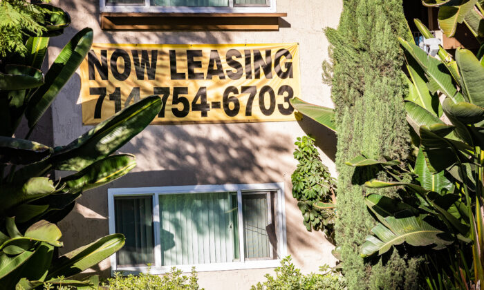A sign advertises an apartment available for rent in Orange County, Calif., on Nov. 16, 2020. (John Fredricks/The Epoch Times)