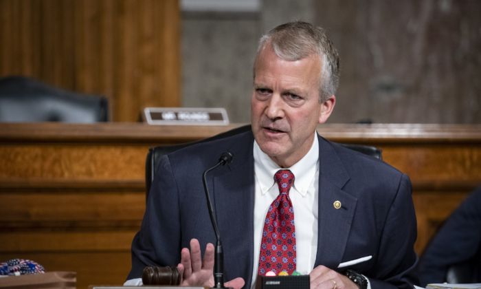 Sen. Dan Sullivan (R-AK) speaks during a Senate Armed Services Committee confirmation hearing in Washington, on May 7, 2020. (Al Drago/Pool/Getty Images)