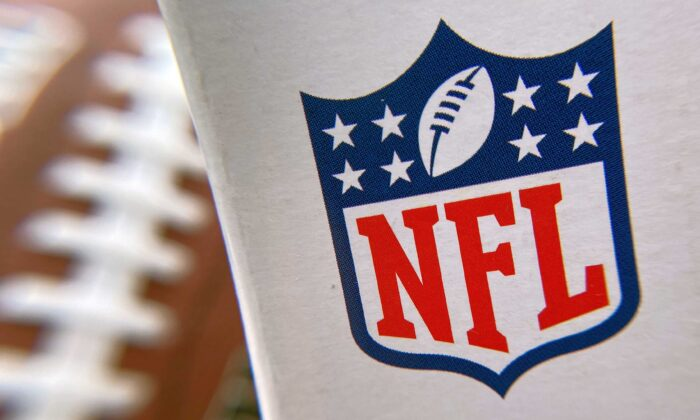 The NFL logo is seen on a football packaging in Los Angeles on Aug. 24, 2020. (Chris Delmas/AFP via Getty Images)