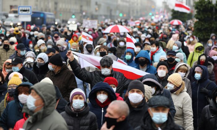 Belarus pensioners attend a rally to protest against the presidential election results in Minsk, on Nov. 16, 2020. (Stringer/AFP via Getty Images)