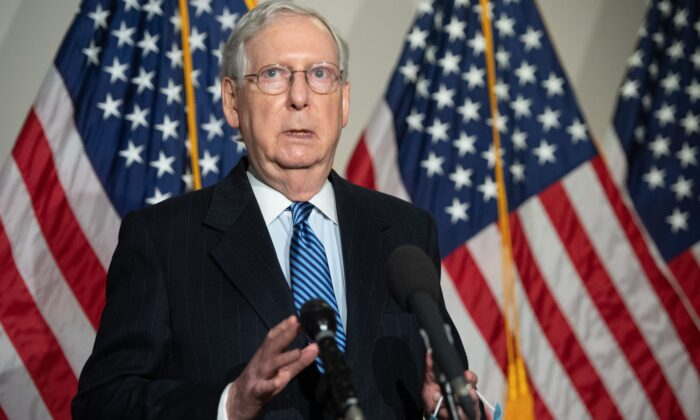 Senate Majority Leader Mitch McConnell (R-Ky.) speaks to the media following the weekly Senate Republican lunch on Capitol Hill in Washington on Nov. 10, 2020. (Saul Loeb/AFP via Getty Images)