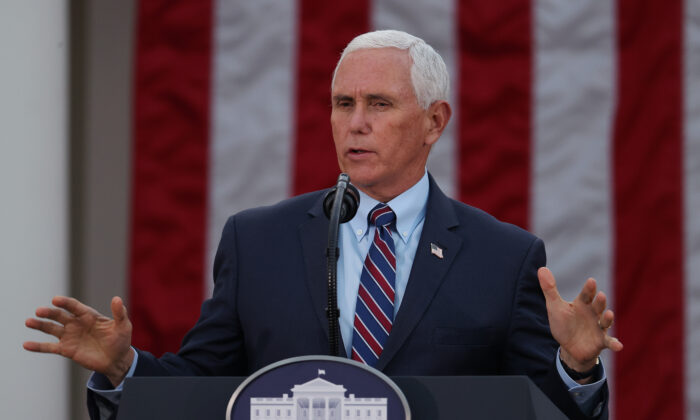 Vice President Mike Pence speaks at the White House about Operation Warp Speed in Washington on Nov. 13, 2020. (Tasos Katopodis/Getty Images)