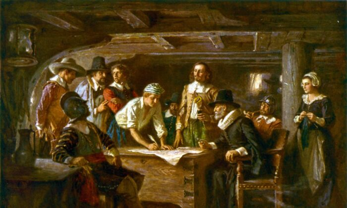 """The Mayflower Compact"" by Jean Leon Gerome Ferris, 1620. (Public domain)"