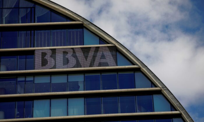 The headquarters of the Spanish bank BBVA are seen in Madrid, Spain, on June 12, 2018. (Juan Medina/Reuters)