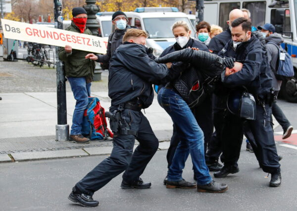 Protest against the government's coronavirus disease (COVID-19) restrictions in Berlin