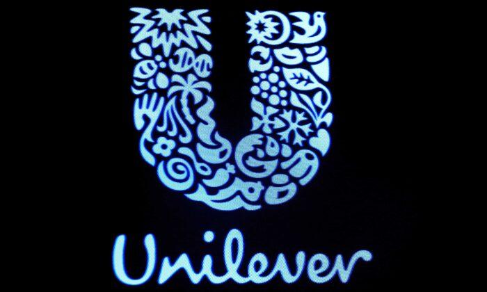 The company logo for Unilever in New York on Feb. 17, 2017. (Brendan McDermid/Reuters)