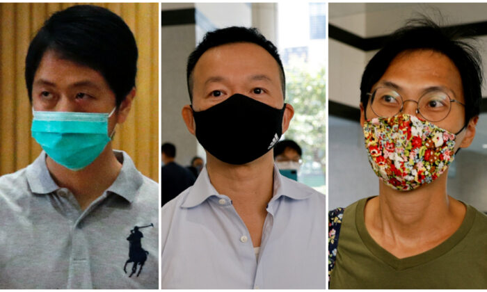 Democratic Party lawmaker Ted Hui Chi-fung (L), former legislator Raymond Chan Chi-chuen (C) and former legislator Eddie Chu Hoi-dick (R) are shown in file photo. (Tyrone Siu/Reuters)