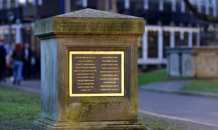 A memorial to the victims of the Birmingham Bombing is seen in St. Philip's Cathedral square on Feb. 25, 2019 in Birmingham, England. (Anthony Devlin/Getty Images)