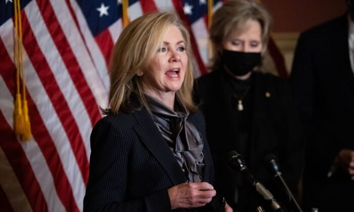 Sen. Marsha Blackburn (R-Tenn.) speaks during a press conference on Capitol Hill, on Oct. 26, 2020. (Graeme Jennings/POOL/AFP via Getty Images)
