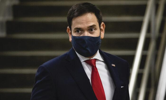 Sen. Marco Rubio (R-Fla.) walks through the Senate subway following a vote in the Senate at the U.S. Capitol in Washington, on Nov. 12, 2020. (Samuel Corum/Getty Images)