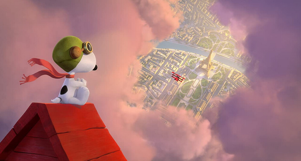 "dog on red dog house diving out of the clouds in ""The Peanuts Movie"""