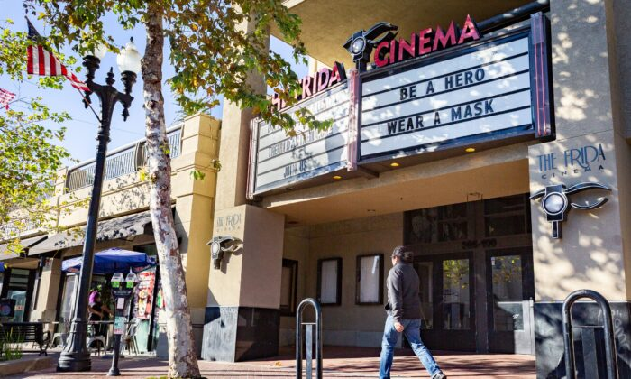 A view of the Frida Cinema in Santa Ana, Calif., on Nov. 17, 2020. (John Fredricks/The Epoch Times)