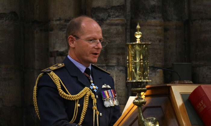 Air Chief Marshal Mike Wigston speaks during a service marking the 80th anniversary of the Battle of Britain at Westminster Abbey in central London on Sept. 20, 2020. (Aaron Chown/Pool/AFP)