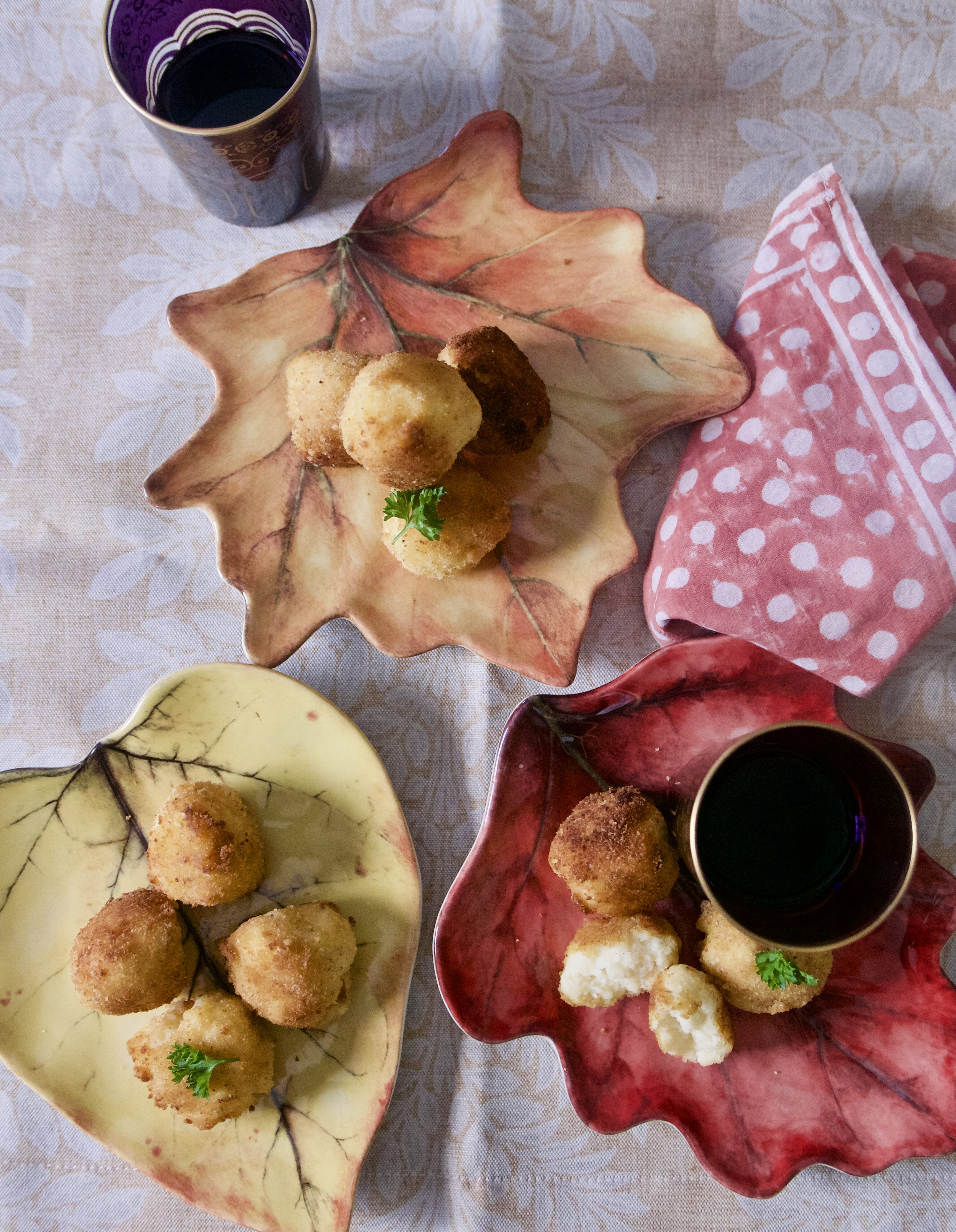 mashed potato croquetas plated