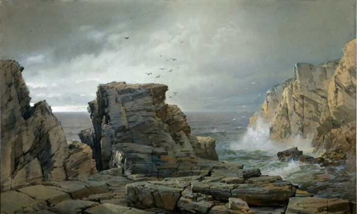 """A Rocky Coast,"" 1877, by William Trost Richards.  Watercolor and gouache on fibrous brown wove paper; 28 1/8 inches by 36 1/4 inches.  The Metropolitan Museum of Art, New York City. (Public Domain)"