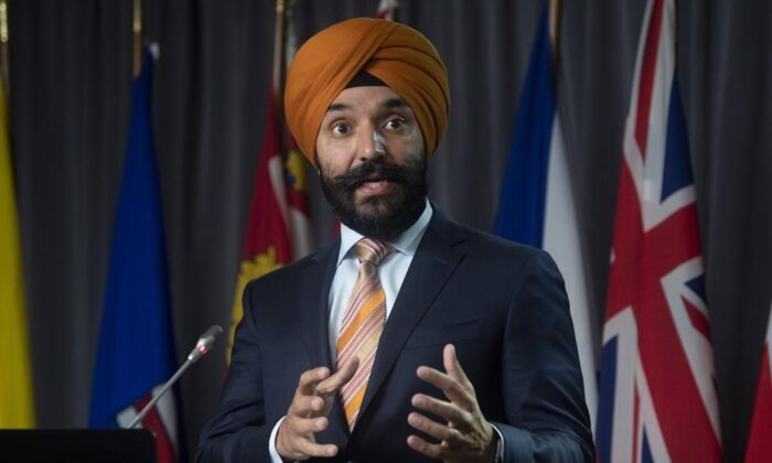Innovation, Science and Industry Minister Navdeep Bains  during a news conference, on  Nov. 17, 2020 in Ottawa. (The Canadian Press/Adrian Wyld)