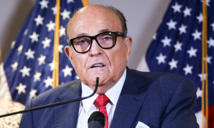 Trump lawyer and former New York City Mayor Rudy Giuliani at the Republican National Committee headquarters in Washington on Nov. 19, 2020. (Charlotte Cuthbertson/The Epoch Times)