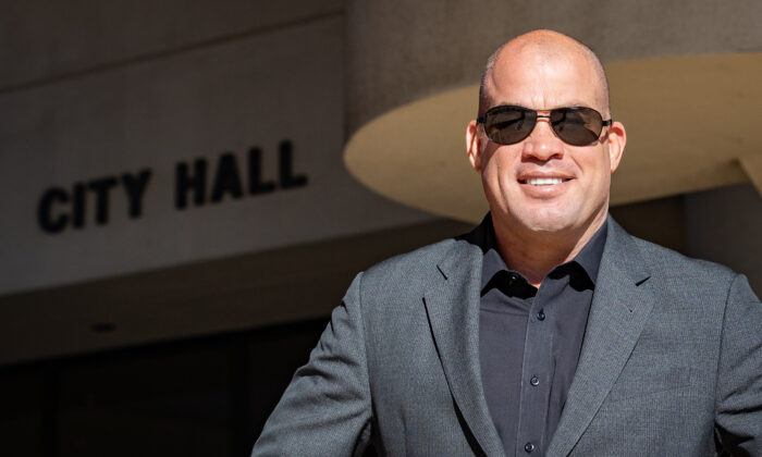 Huntington Beach Mayor Pro Tem Tito Ortiz stands in front of City Hall in Huntington Beach, Calif., on Nov. 13, 2020. (John Fredricks/The Epoch Times)