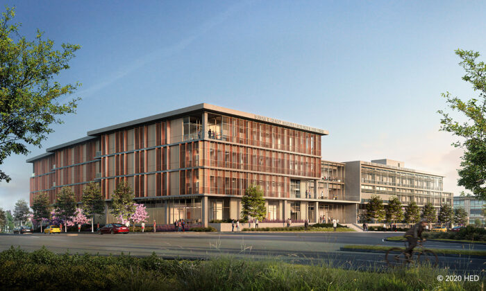 A rendering shows the new University of California–Irvine Health Sciences and Nursing School complex in Irvine, Calif. (Courtesy of HED)