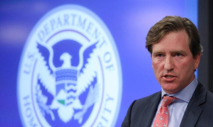 Then-Department of Homeland Security under secretary Christopher Krebs speaks to reporters in Arlington, Va., on Nov. 6, 2018. (Jonathan Ernst/Reuters)