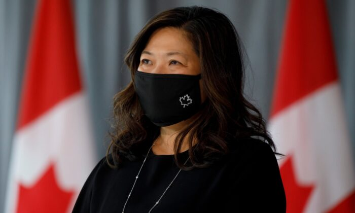 Minister of International Trade, Small Business and Export Promotion Mary Ng looks on during a press conference to unveil plans for greater support for Black businesses, at HXOUSE in Toronto, on Sept. 9, 2020. (The Canadian Press/Cole Burston)