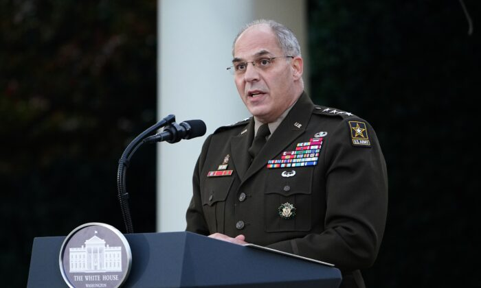 "General Gustave Perna delivers an update on ""Operation Warp Speed"" in the Rose Garden of the White House in Washington, DC on Nov. 13, 2020. (MANDEL NGAN/AFP via Getty Images)"