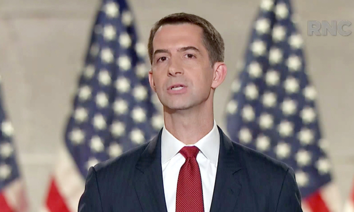 Sen. Tom Cotton (R-AR) speaks as part of the livestream of the 2020 Republican National Convention on Aug. 27, 2020. (Committee on Arrangements for the 2020 RNC/Getty Images)