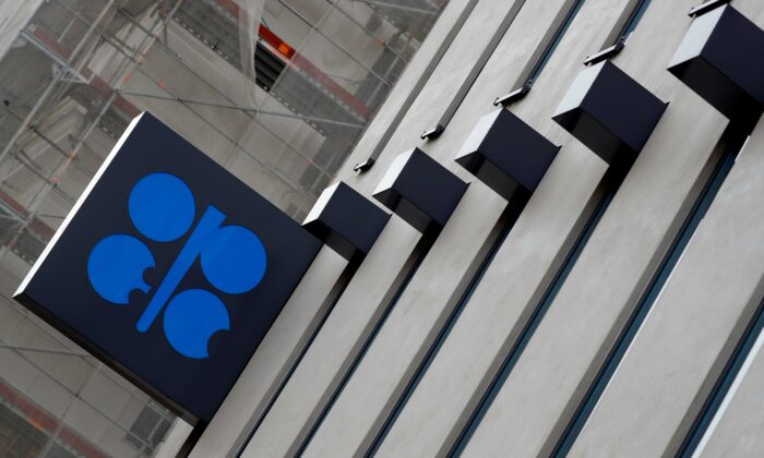 The logo of the Organization of the Petroleum Exporting Countries (OPEC) is seen outside their headquarters in Vienna, Austria, on Dec. 7, 2018. (Leonhard Foeger/Reuters)
