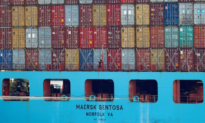 Containers are stacked up on a Maersk Sentosa container ship at the port of Antwerp, Belgium, on July 26, 2018. (Francois Lenoir/Reuters)