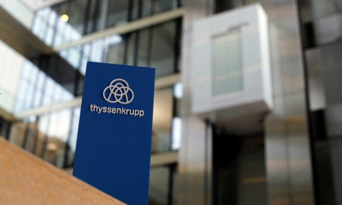 The logo of Thyssenkrupp is seen near elevators in its headquarters in Essen, Germany, Nov. 21, 2019. (Leon Kuegeler/Reuters)