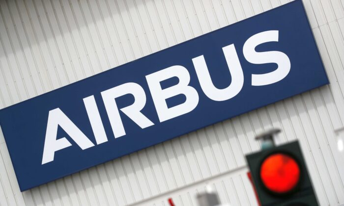 The logo of Airbus is pictured at the entrance of the Airbus facility in Bouguenais, near Nantes, France, on July 2, 2020. (Stephane Mahe/Reuters)