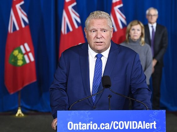 Ontario Premier Doug Ford holds a press conference on Oct. 2, 2020. (The Canadian Press/Nathan Denette)