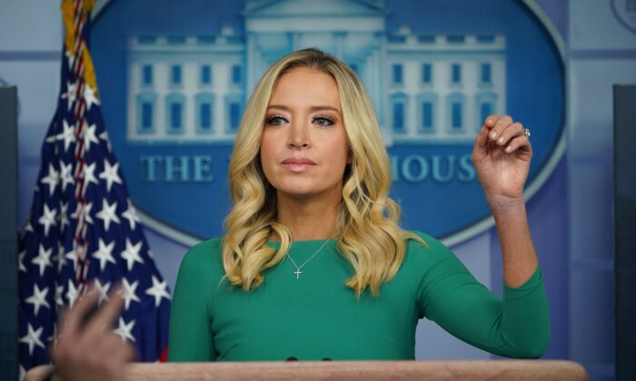 White House press secretary Kayleigh McEnany takes questions from the media during a press briefing in the Brady Briefing Room of the White House in Washington Nov. 20, 2020. (Mandel Ngan/AFP via Getty Images)