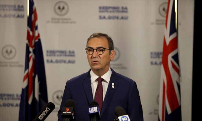 South Australian Premier Steven Marshall at the Daily COVID-19 update in Adelaide, Australia on Nov. 20, 2020. (Kelly Barnes/Getty Images)