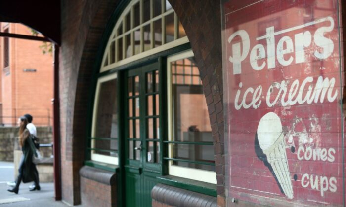An iconic Australian brand Peters ice cream, dating back to the 19th and early 20th centuries, is seen in the central business district of Sydney on September 21, 2017.  (SAEED KHAN/ Getty Images)