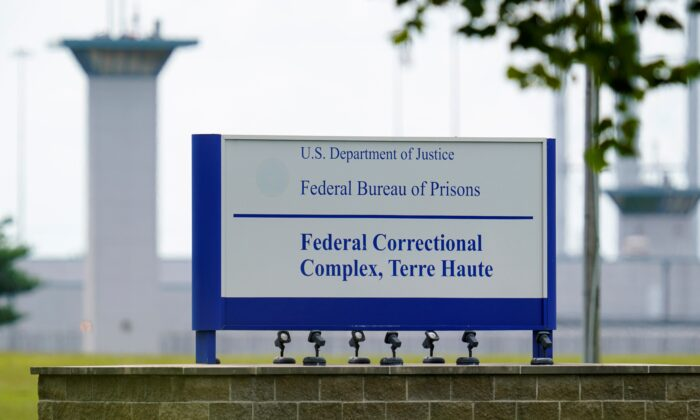 This file photo shows the federal prison complex in Terre Haute, Ind. on Aug. 28, 2020 (Michael Conroy/AP Photo File)