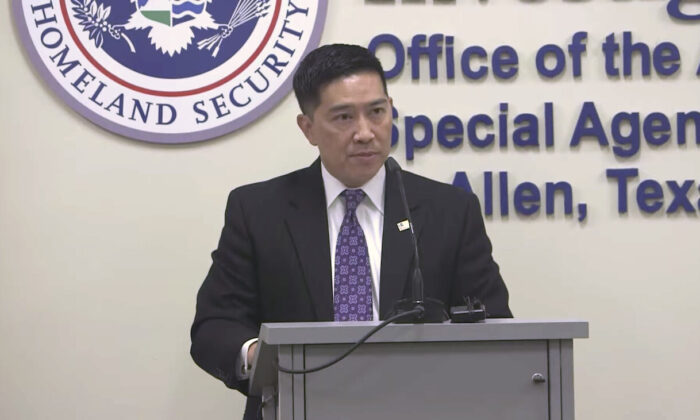 Acting Director of U.S. Immigration and Customs Enforcement Tony Pham announces the results of Operation Broken Promise in McAllen, Texas, on Nov. 19, 2020. (ICE Youtube/Screenshot)