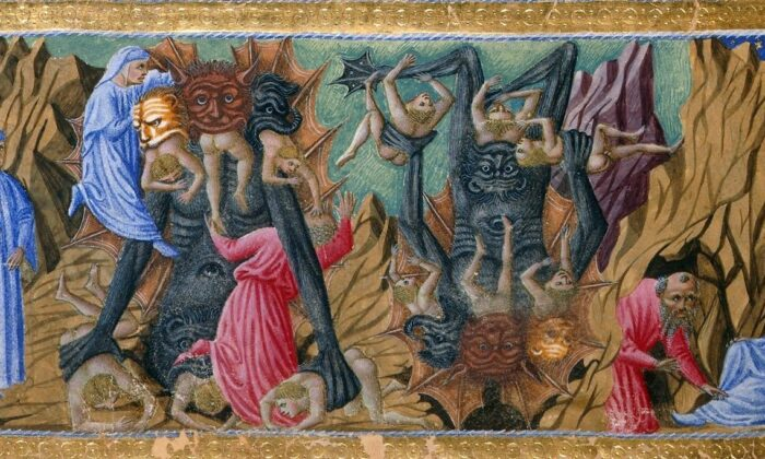 """Detail of a miniature of Dante and Virgil witnessing Satan, with his three mouths, devouring Cassius, Judas (center), and Brutus, who betrayed their masters, in an illustration of Canto 34 of the """"Inferno."""" Priamo della Quercia, between 1444 and circa 1450. British Library Catalogue of Iluminated Manuscripts. (Public Domain)"""