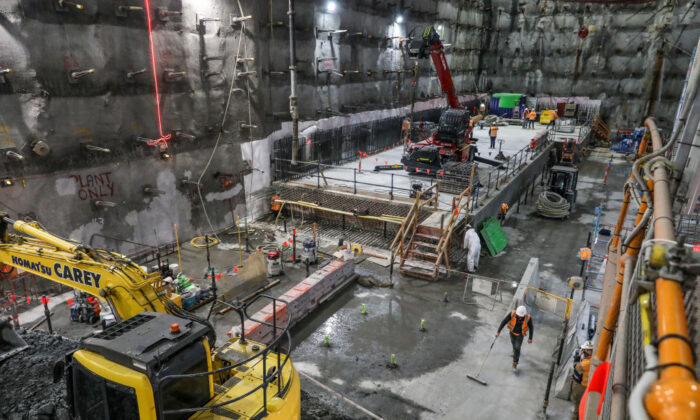 A general view underground from the site of the currently being built, State Library station, as part of the Metro Tunnel metropolitan rail infrastructure project on November 06, 2020 in Melbourne, Australia.  (Asanka Ratnayake/Getty Images)