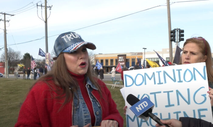 Suzette McFarland attended a Stop the Steal rally in Vernon Hills, Illinois on Nov. 21, 2020. (NTD Television)